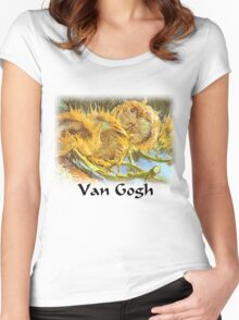 Vincent Van Gogh - Cut Sunflowers Women's Fitted Scoop T-Shirt