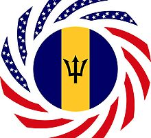 Barbadian American Multinational Patriot Flag Series by Carbon-Fibre Media