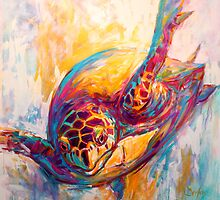 "Marine Wildlife Art - ""Expressionist Hawksbill Sea by Mike Savlen"