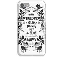 Freedom & Books & Flowers & Moon iPhone Case/Skin