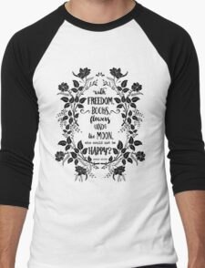 Freedom & Books & Flowers & Moon Men's Baseball ¾ T-Shirt