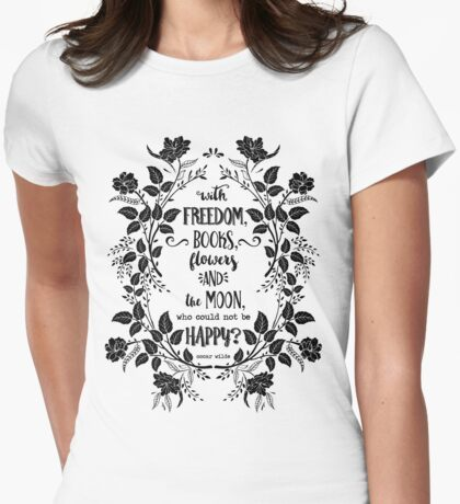 Freedom & Books & Flowers & Moon Womens Fitted T-Shirt