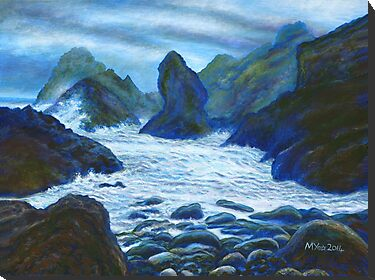 rocky seascape acrylic painting for sale