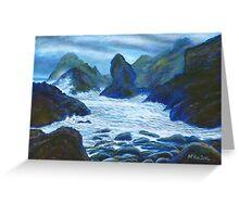 Acrylic painting, Rocky seascape art Greeting Card