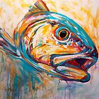 Red Drum Fish art - Expressionist Redfish by Mike Savlen