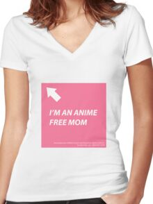 Anime Free Mom Women's Fitted V-Neck T-Shirt