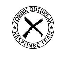 ZOMBIE OUTBREAk RESPONSE TEAM gun & Machete Photographic Print