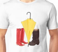 The boots and the umbrella Unisex T-Shirt