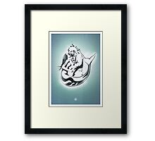 "Mermaid + Diver Stencil. ""Impossible Love"" - Grey version Framed Print"