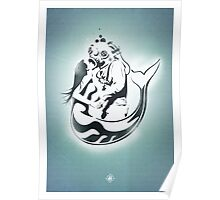 "Mermaid + Diver Stencil. ""Impossible Love"" - Grey version Poster"