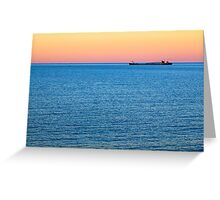 Great Lakes Freighter at Dusk Greeting Card
