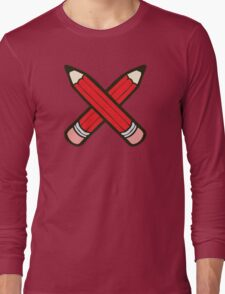 Pencil Power Red Pattern Long Sleeve T-Shirt