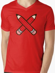 Pencil Power Red Pattern Mens V-Neck T-Shirt