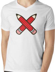 Pencil Power Red Pattern Mens V-Neck T-Shirt