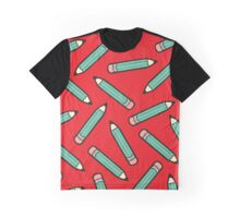 Pencil Power Red Pattern Graphic T-Shirt