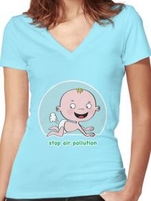 Stop Air Pollution Women's Fitted V-Neck T-Shirt