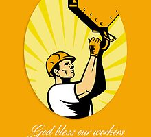 Happy Labor Day Retro Poster Greeting Card by patrimonio