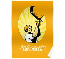 Happy Labor Day Retro Poster Greeting Card Poster