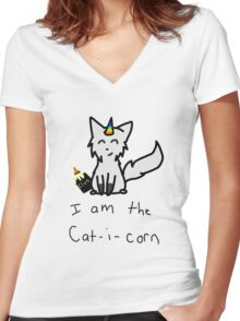 Caticorn Women's Fitted V-Neck T-Shirt