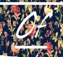 """""""GardenOfEden-Floral""""(white text and border) Sticker"""