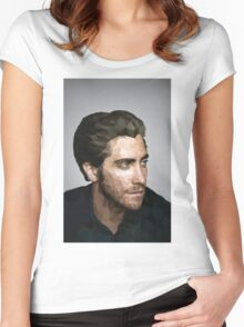Jake Gyllenhaal: Low-Poly Women's Fitted Scoop T-Shirt