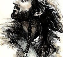 Thorin Oakenshield watching warg by evankart