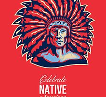 Native American Day Celebration Retro Poster Card by patrimonio