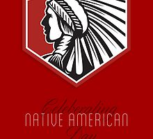 Poster Native American Day Celebration Retro Card by patrimonio