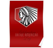 Poster Native American Day Celebration Retro Card Poster