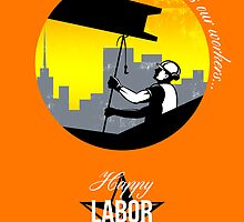 Steel Worker Happy Labor Day Greeting Card Poster by patrimonio