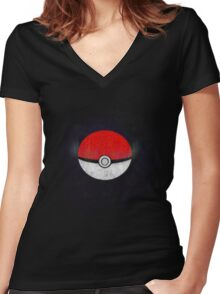Pokemon Poison Type Pokeball with sleep powder leaking out Women's Fitted V-Neck T-Shirt