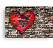 heart on the old broken brick wall Canvas Print
