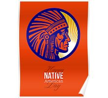 Happy Native American Day Remembrance Greeting Card Poster