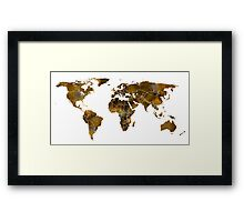 MAP of the WORLD SEPIA TONED Framed Print