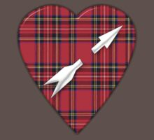 Scottish Royal Stewart Tartan Arrow Heart Tee  by simpsonvisuals