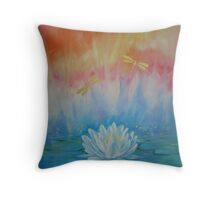 Lotus with dragonflies Throw Pillow