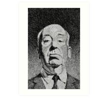 Hitchcock portrait - Fingerprint drawing Art Print