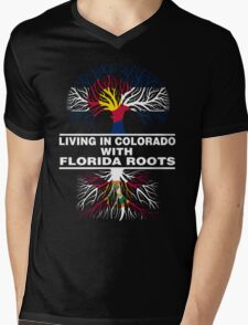 LIVING IN COLORADO WITH FLORIDA ROOTS Mens V-Neck T-Shirt
