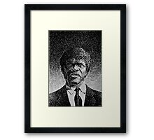 Jules Winnfield portrait - Fingerprint drawing Framed Print