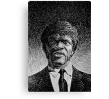 Jules Winnfield portrait - Fingerprint drawing Canvas Print