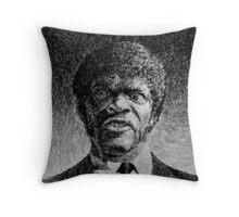 Jules Winnfield portrait - Fingerprint drawing Throw Pillow
