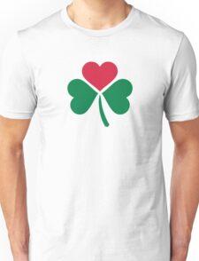Shamrock red heart Unisex T-Shirt