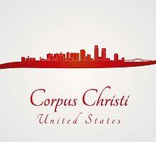 Corpus Christi skyline in red by paulrommer