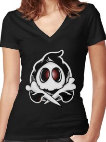 Duskull & Crossbones Women's Fitted V-Neck T-Shirt