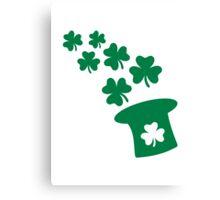 Irish top hat shamrocks Canvas Print
