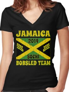 Vintage 2014 Jamaican Bobsled Team Sochi Olympics T Shirt Women's Fitted V-Neck T-Shirt