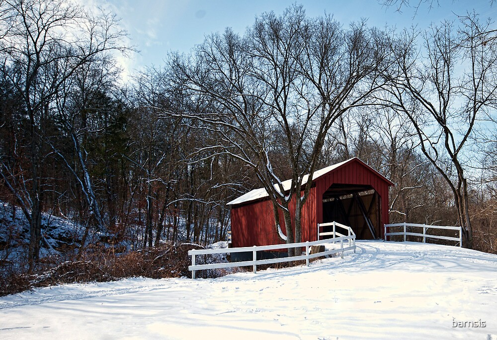 Sandy Creek Coverd Bridge on a bright sunny day by barnsis