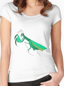 Cute Praying Mantis Women's Fitted Scoop T-Shirt