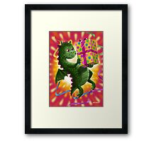 Baby Birthday Dragon with present Framed Print