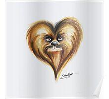 Chewbacca Star Wars Heart Art Poster
